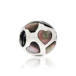 RETIRED! Pandora Dark Pearl Hearts Charm 2014